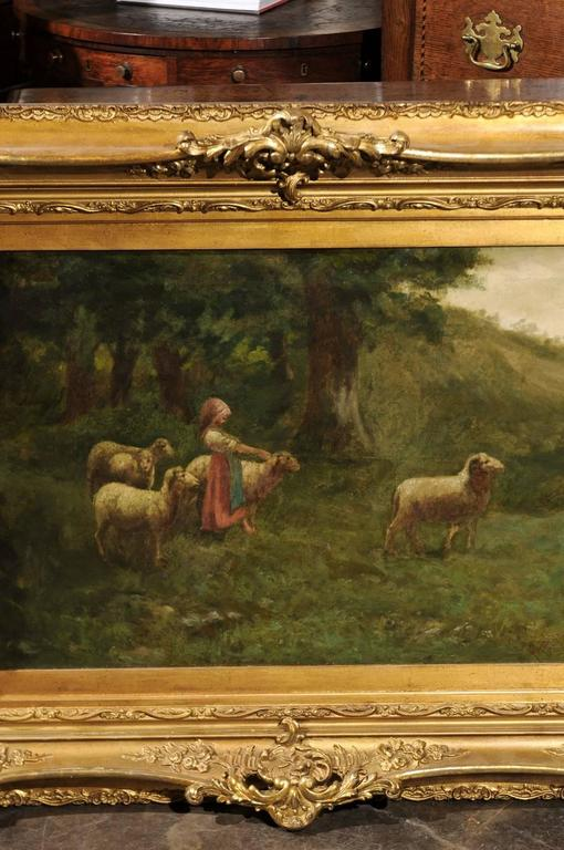 Canvas Large Antique Oil Painting of Sheep and Shepherdess in Antique Giltwood Frame For Sale