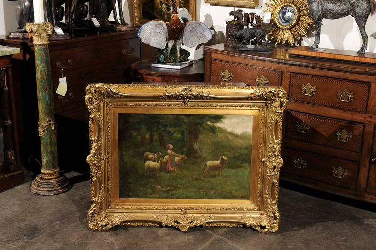 European Large Antique Oil Painting of Sheep and Shepherdess in Antique Giltwood Frame For Sale