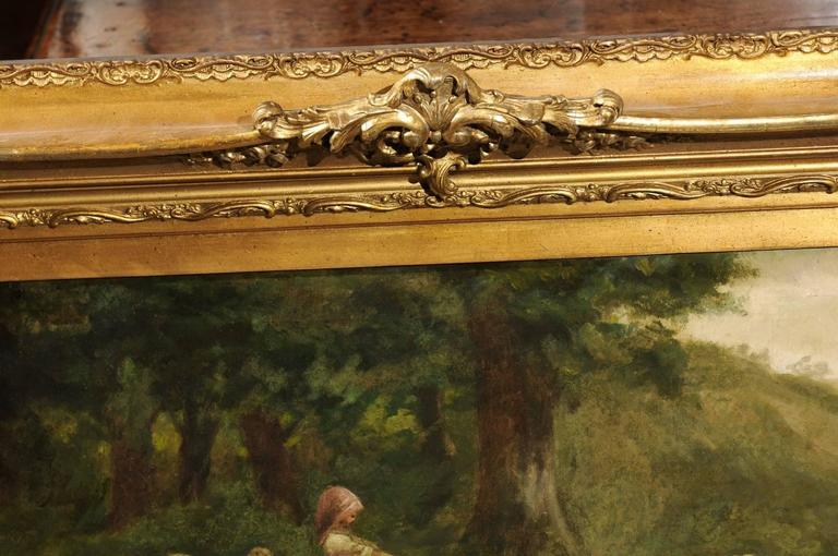Large Antique Oil Painting of Sheep and Shepherdess in Antique Giltwood Frame For Sale 2