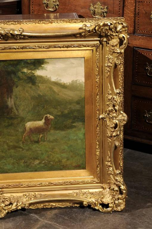Large Antique Oil Painting of Sheep and Shepherdess in Antique Giltwood Frame For Sale 1