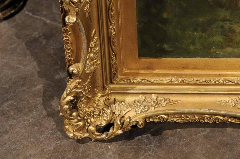 Large Antique Oil Painting of Sheep and Shepherdess in Antique Giltwood Frame For Sale 3