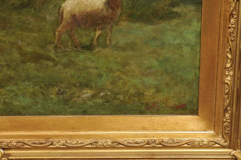 Large Antique Oil Painting of Sheep and Shepherdess in Antique Giltwood Frame For Sale 4