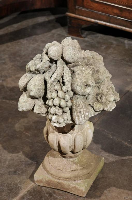 pair of french stone fruit  flowers and m u00e9dicis vase sculptures  circa 1920 for sale at 1stdibs