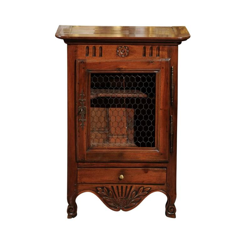 Mid-19th Century Small Size Walnut French Cabinet with Wire Door and Drawer