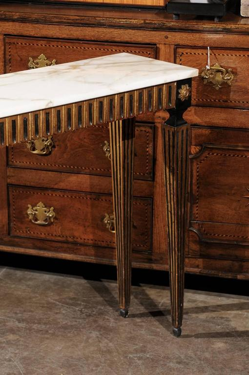 French Ebonized and Gilded Neoclassical Style Side Table with White Marble Top 6