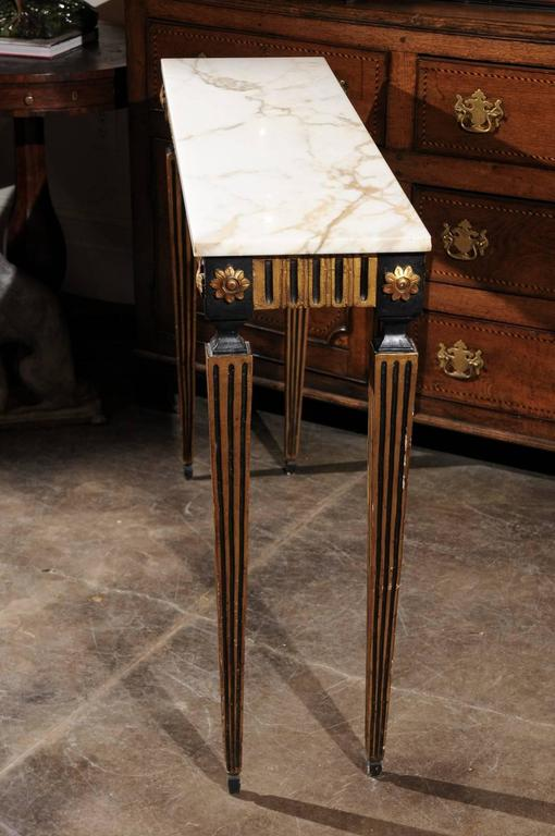 French Ebonized and Gilded Neoclassical Style Side Table with White Marble Top 7