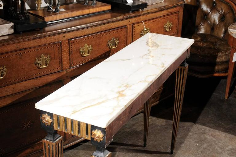 French Ebonized and Gilded Neoclassical Style Side Table with White Marble Top 9
