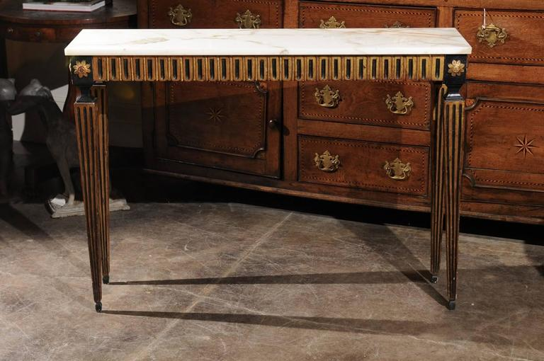 French Ebonized and Gilded Neoclassical Style Side Table with White Marble Top 8