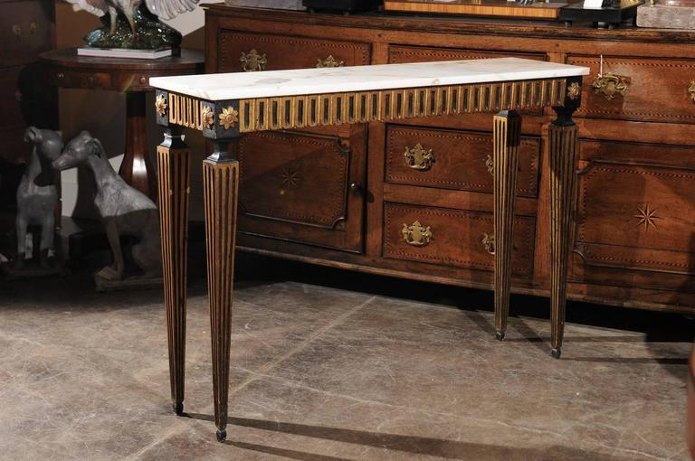 French Ebonized and Gilded Neoclassical Style Side Table with White Marble Top 2