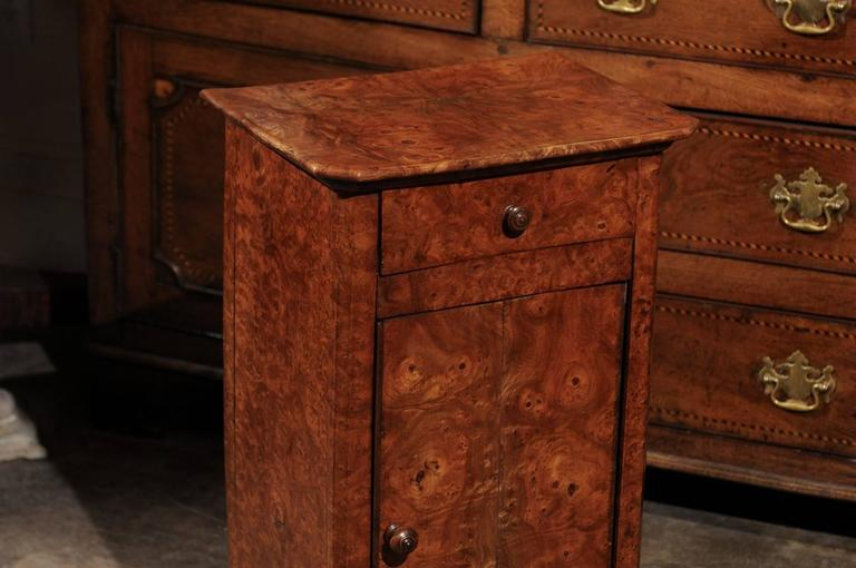 19th Century English Burl Wood Pot Cupboard from the 1880s with Single Drawer and Door For Sale