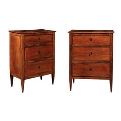 Pair of French Directoire Style Small Size Cherry Commodes from the 1920s