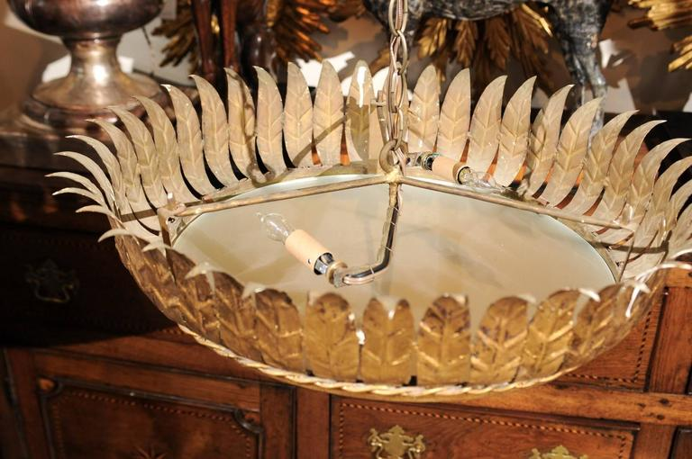 20th Century Vintage Spanish Gilt Metal Crown Chandelier with Frosted Glass and Leaf Motifs For Sale