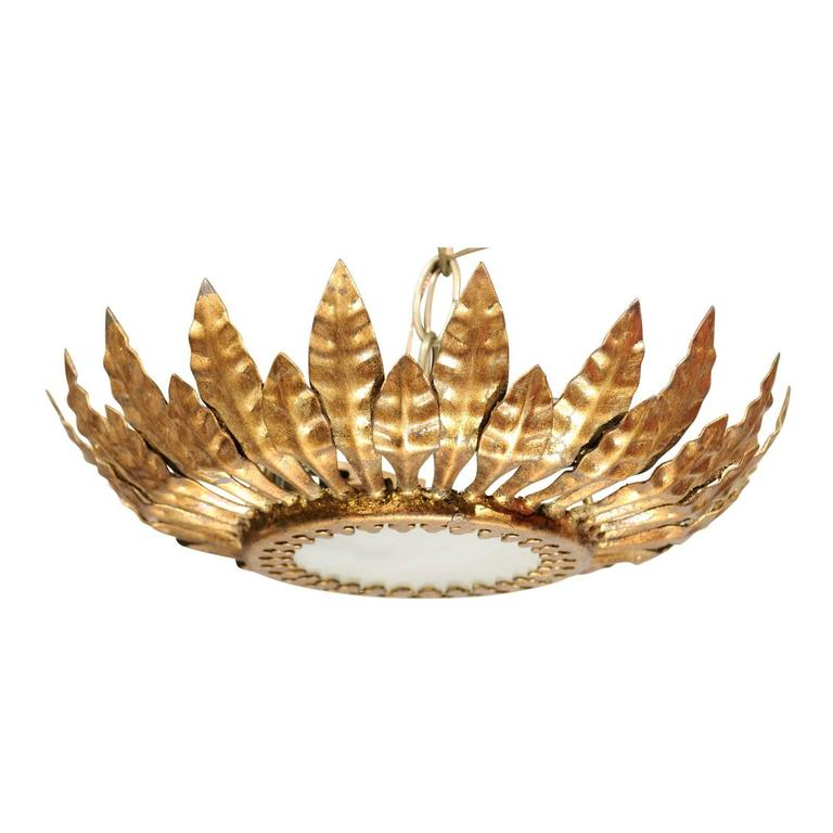 Spanish Mid-Century Crown Pendant with Gilt Metal Leaves and Frosted Glass