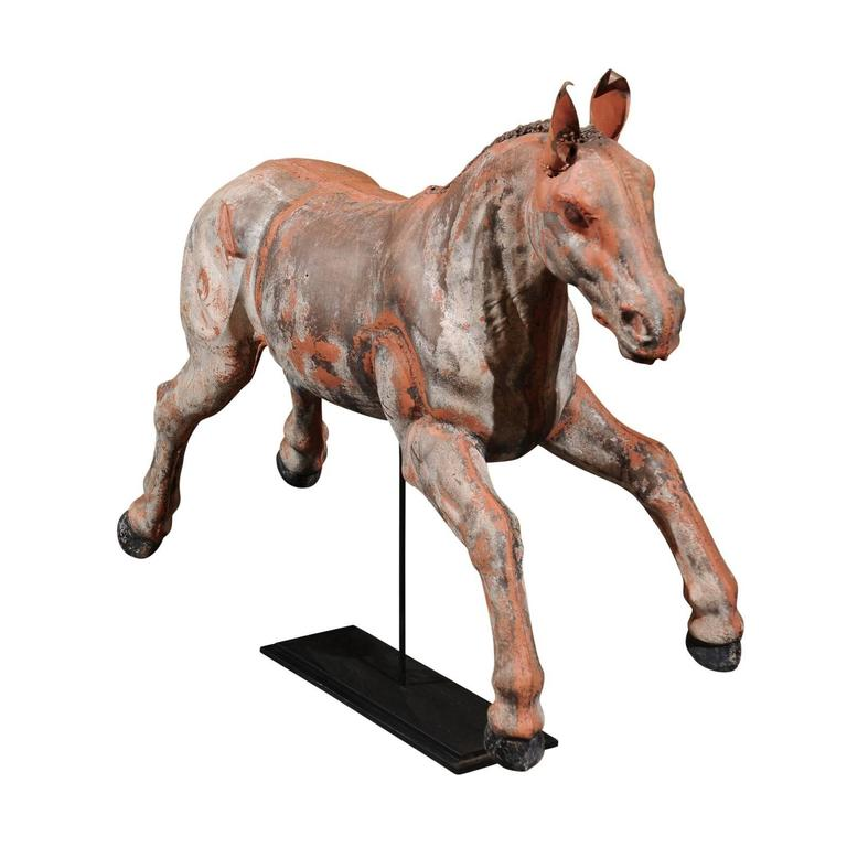 Early 20th Century Continental Carousel Galloping Horse Mounted on Metal Stand For Sale