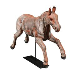 Early 20th Century Continental Carousel Galloping Horse Mounted on Metal Stand