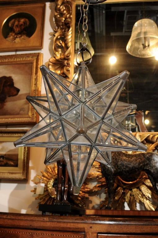 French Mid Century Star Shaped Pendant With Metal Frame
