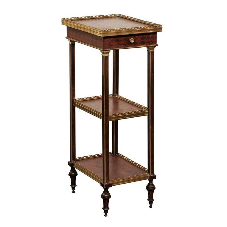 english 1870 petite brass and parquetry three shelf. Black Bedroom Furniture Sets. Home Design Ideas