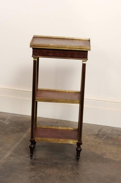 English 1870 petite brass and parquetry three shelf tag re with single drawe - Etagere petite profondeur ...