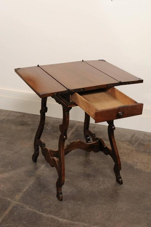 Italian 1820 Walnut Side Table with Folding Top and  : abp052120179142Customl from www.1stdibs.com size 510 x 768 jpeg 32kB