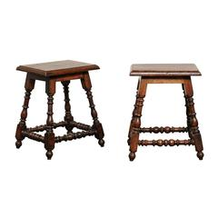 Pair of Italian Walnut Stools with Turned Splayed Legs and Side Stretchers, 1880