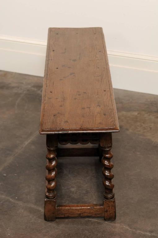 English Backless Carved Oak Bench With Barley Twist Legs