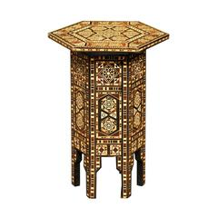 Inlaid Moroccan Petite Size Drinks Table with Wood and Bone Inlay, Mid-Century