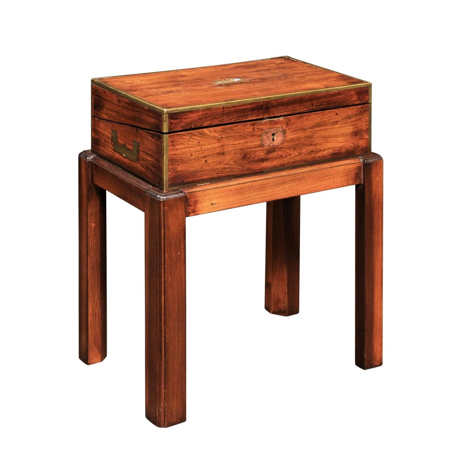 Genial English Campaign Mahogany Lap Desk Decorative Box On Custom Stand, Circa  1860