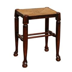 English Petite Oak Stool with Rectangular Rush Seat from the Late 19th Century