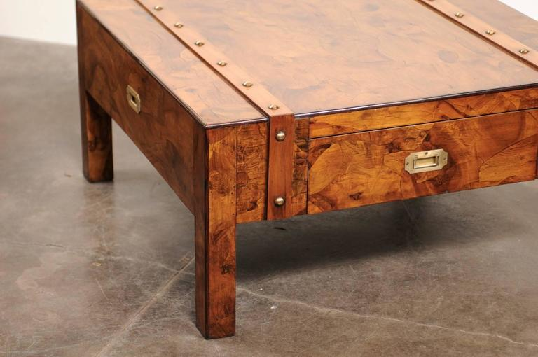 20th Century English Mid-Century Campaign Burled Wood Coffee Table with Single Drawer For Sale