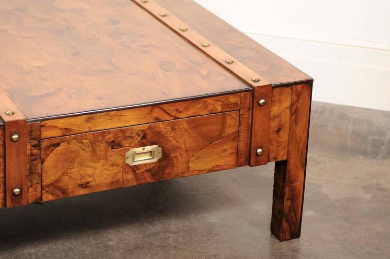 English Mid-Century Campaign Burled Wood Coffee Table with Single Drawer For Sale 1