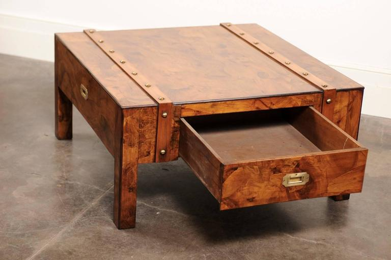 English Mid-Century Campaign Burled Wood Coffee Table with Single Drawer For Sale 2