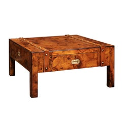 English Mid-Century Campaign Burled Wood Coffee Table with Single Drawer