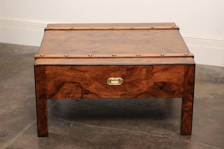 English Mid-Century Campaign Burled Wood Coffee Table with Single Drawer For Sale 3