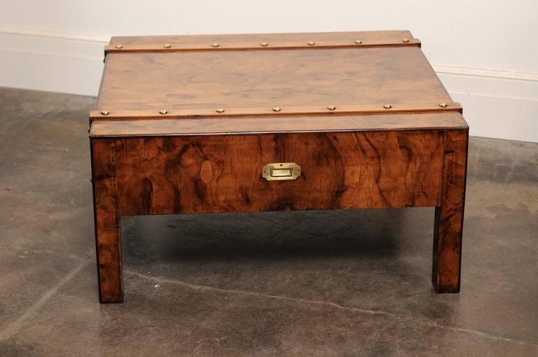 English Mid-Century Campaign Burled Wood Coffee Table with Single Drawer In Good Condition For Sale In Atlanta, GA