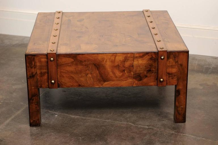 English Mid-Century Campaign Burled Wood Coffee Table with Single Drawer For Sale 4