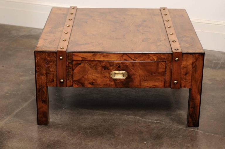 English Mid-Century Campaign Burled Wood Coffee Table with Single Drawer For Sale 5