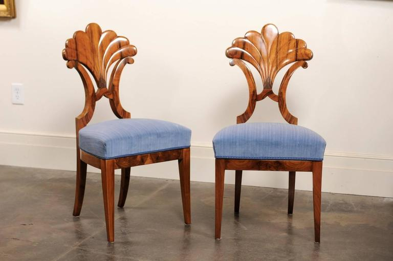 This Pair Of Exquisite Biedermeier Side Chairs From The Mid 19th Century  Features Fan Shaped