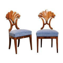 Awesome Pair Of Austrian Biedermeier Fan Back Chairs With Light Blue Upholstery,  1840