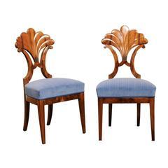 Pair of Austrian Biedermeier Fan Back Chairs with Light Blue Upholstery, 1840