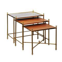 Set of Three Italian Maison Jansen Style 1970s Nesting Table with Brass Frames