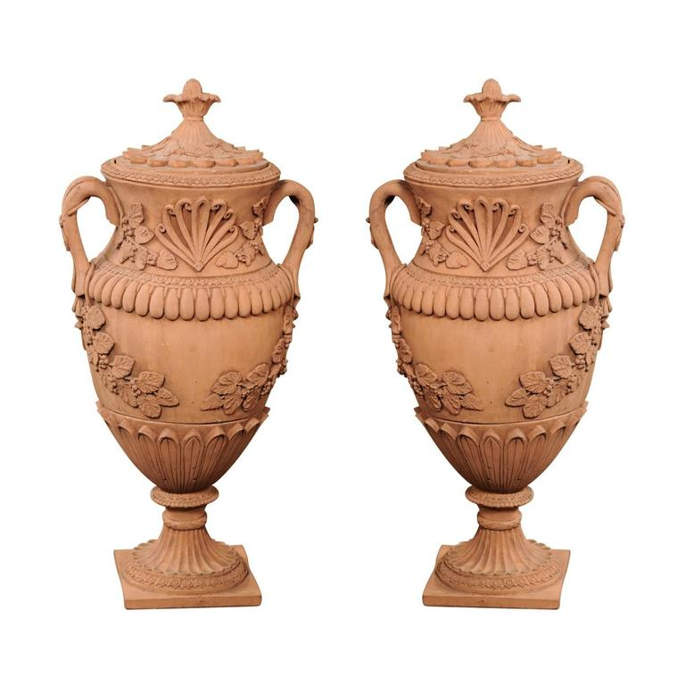 Pair of 1930s Oversized Vintage French Terracotta Urns with Lid and Handles
