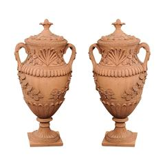 Pair of Oversized Vintage French Terracotta Urns with Lid and Handles