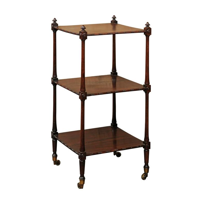 English Rosewood Three-Tiered Trolley with Carved Side Posts and Casters