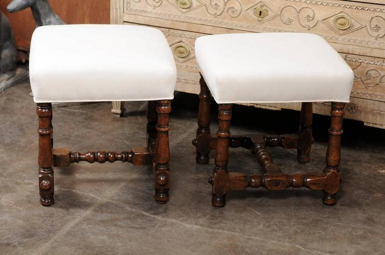 Pair Of Italian Walnut Stools With Upholstered Seats And