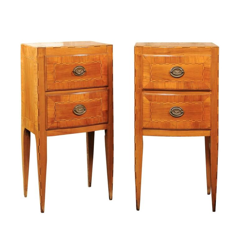 pair of petite austrian biedermeier two drawer commodes with inlay circa 1840 for sale at 1stdibs. Black Bedroom Furniture Sets. Home Design Ideas