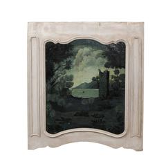 French Trumeau Painting from the Late 19th Century with Ruins and Lake