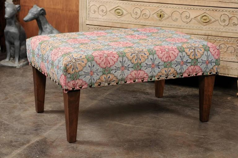 Upholstered Ottoman Made Of Midcentury Colorful Turkish