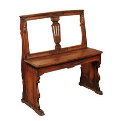 English Early 19th Century Walnut Bench with Pierced Back and Swag Motifs