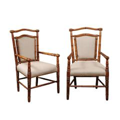 Pair of English 1900s Faux-Bamboo Armchairs with Turned Legs and Stretchers