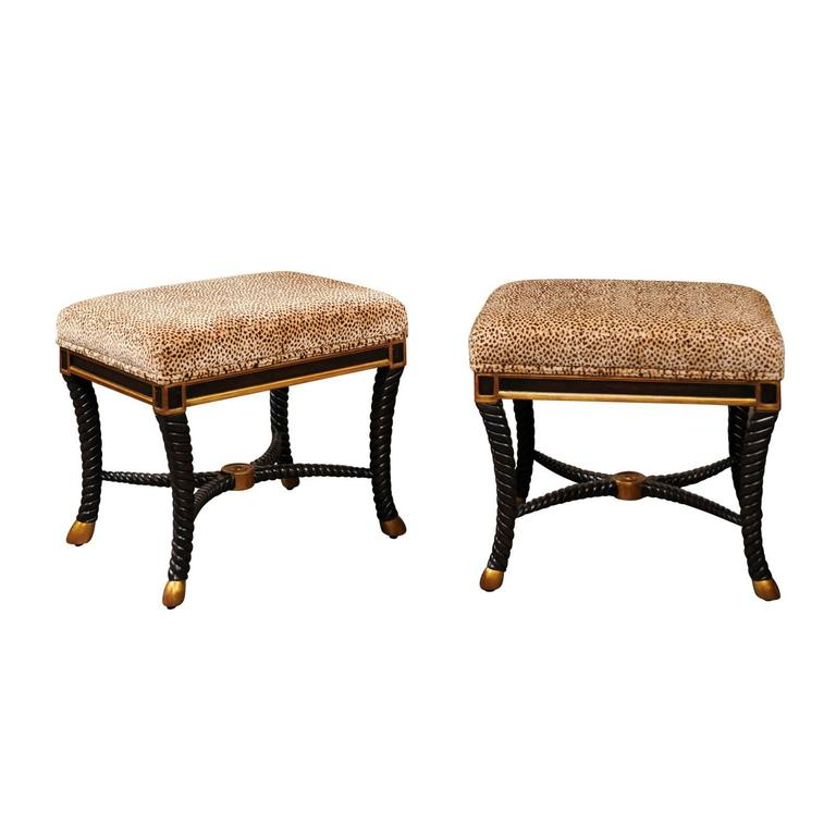 Pair of Italian 1970s Upholstered Stools with Ebonized Wood and Gilded Accents